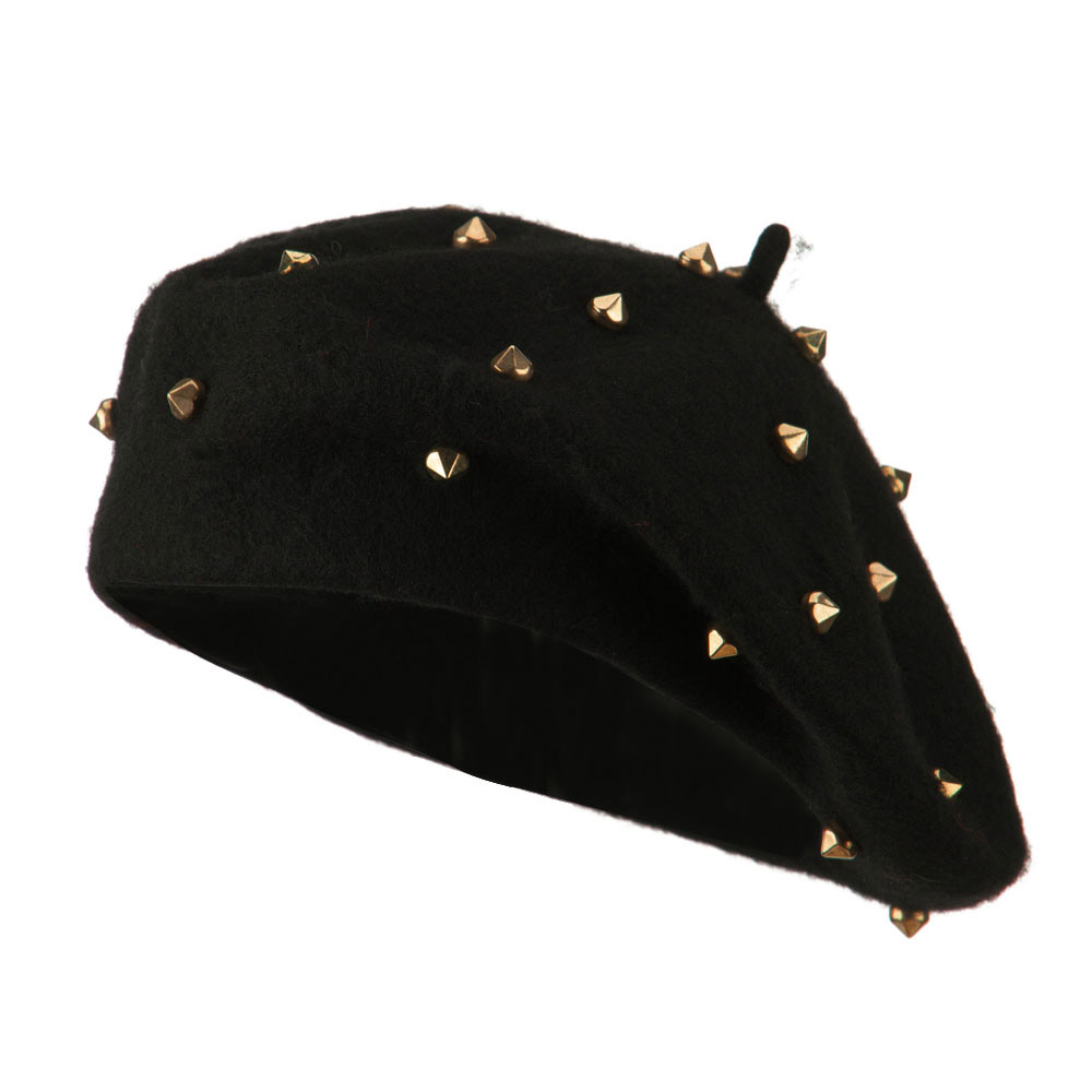 Wool Felt Beret with Spike Accents - Gold - Hats and Caps Online Shop - Hip Head Gear