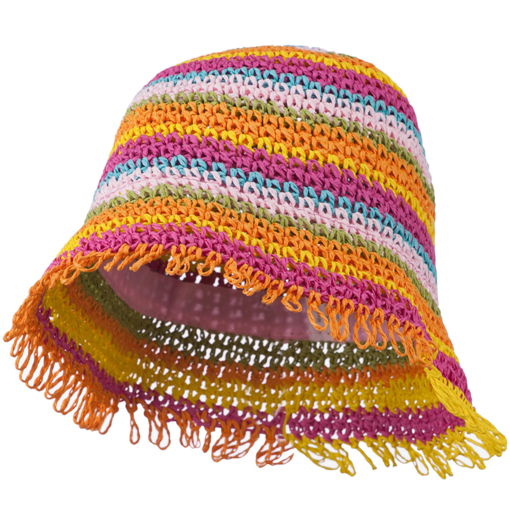 Girl's Bucket Shaped Hat with Fringe Edge - Bright Stripes - Hats and Caps Online Shop - Hip Head Gear