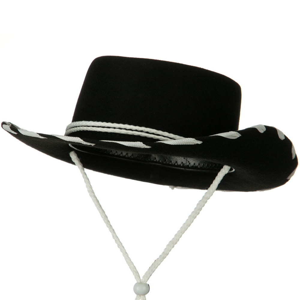 Stitched Child Wool Felt Cowboy Hat - Black - Hats and Caps Online Shop - Hip Head Gear