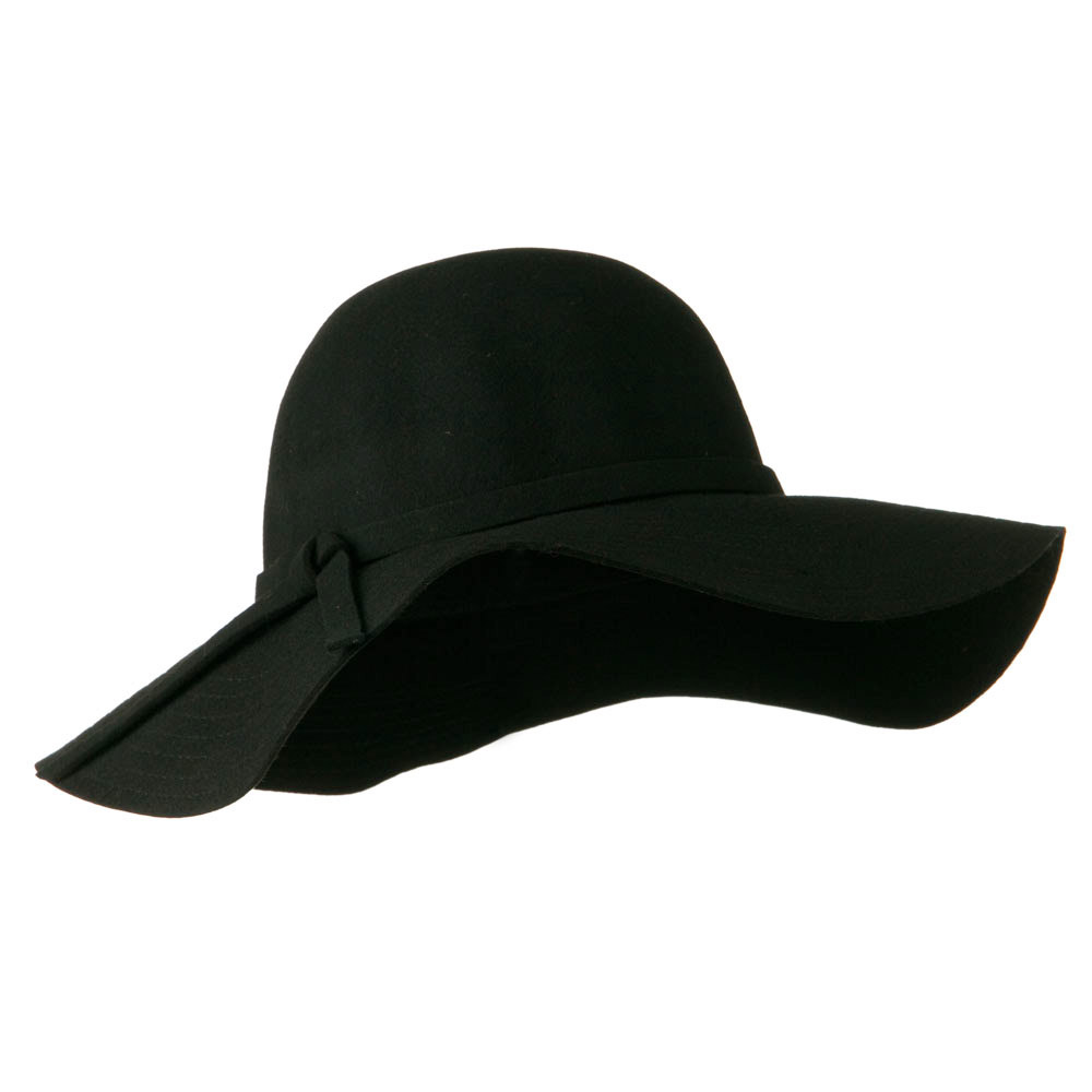 Wide Flat Brim Wool Felt Hat - Black - Hats and Caps Online Shop - Hip Head Gear