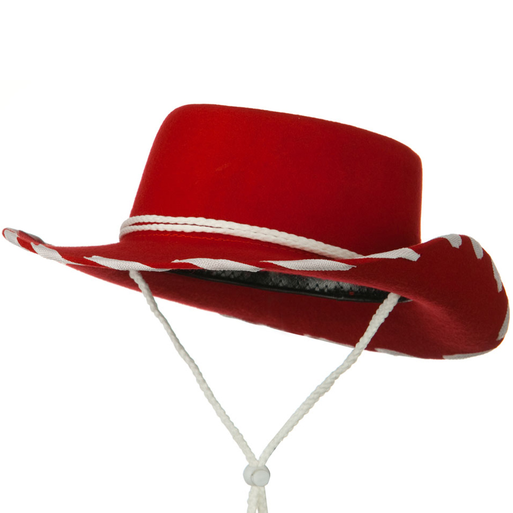 Stitched Child Wool Felt Cowboy Hat - Red - Hats and Caps Online Shop - Hip Head Gear