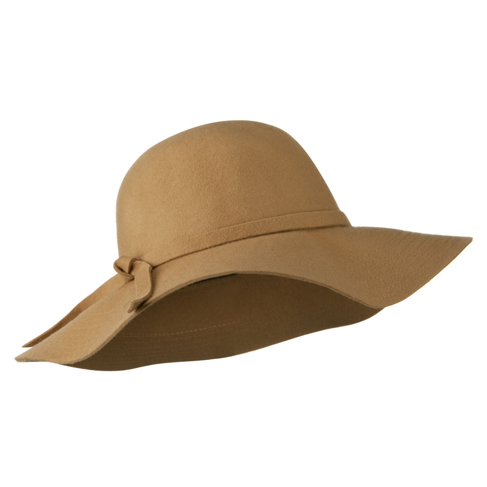 Wide Flat Brim Wool Felt Hat - Camel - Hats and Caps Online Shop - Hip Head Gear