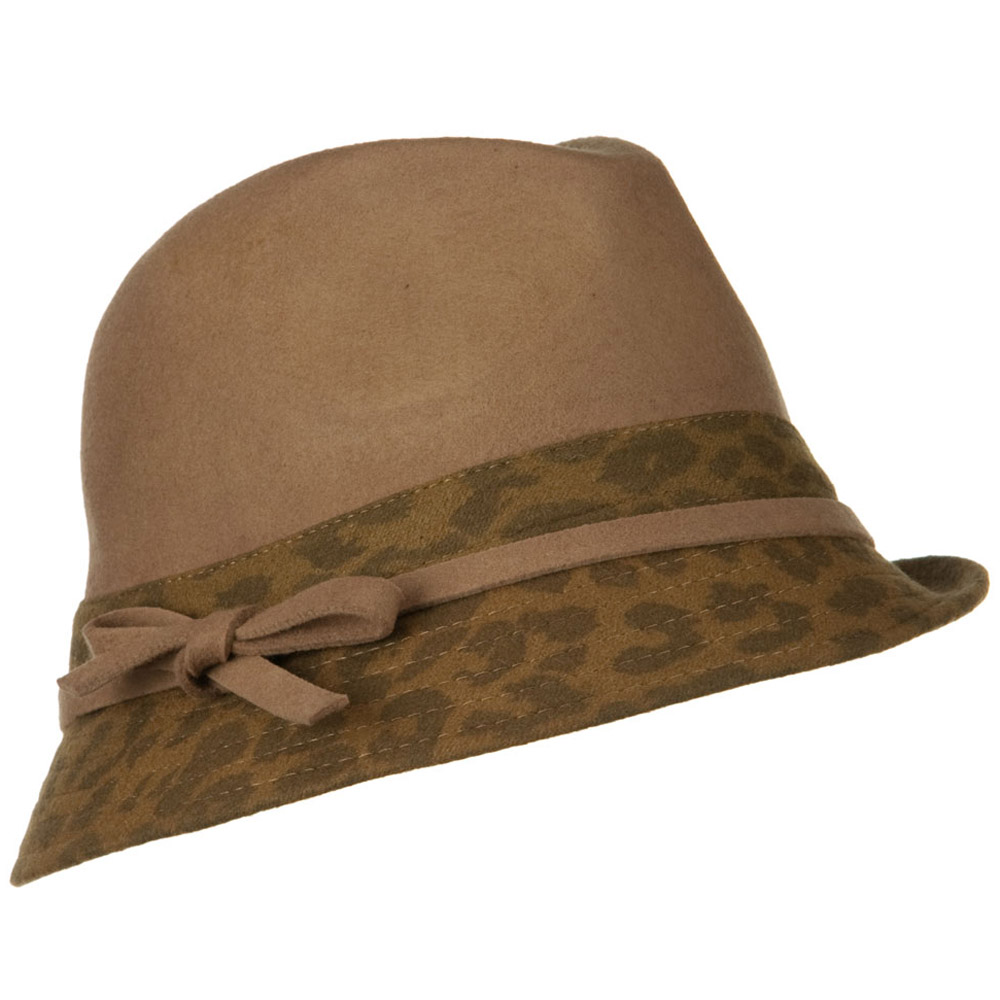 Wool Felt Two Tone Fedora Hat with Strap Band - Camel Beige - Hats and Caps Online Shop - Hip Head Gear