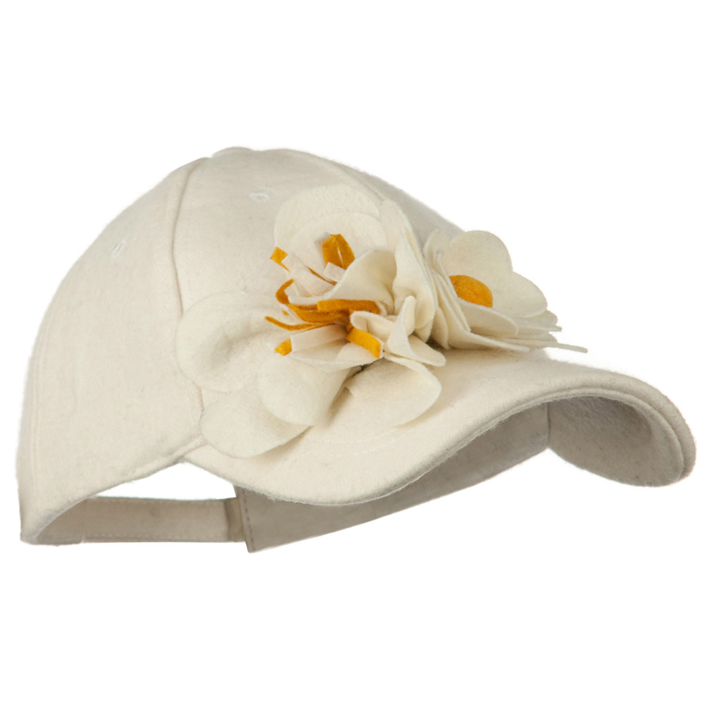 Wool Cap with Flowers - Ivory - Hats and Caps Online Shop - Hip Head Gear