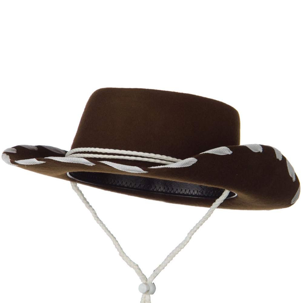 Stitched Child Wool Felt Cowboy Hat - Brown - Hats and Caps Online Shop - Hip Head Gear