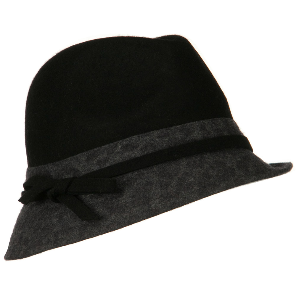 Wool Felt Two Tone Fedora Hat with Strap Band - Black Grey - Hats and Caps Online Shop - Hip Head Gear