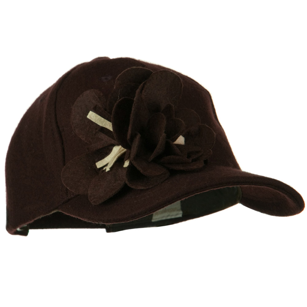 Wool Cap with Flowers - Brown - Hats and Caps Online Shop - Hip Head Gear