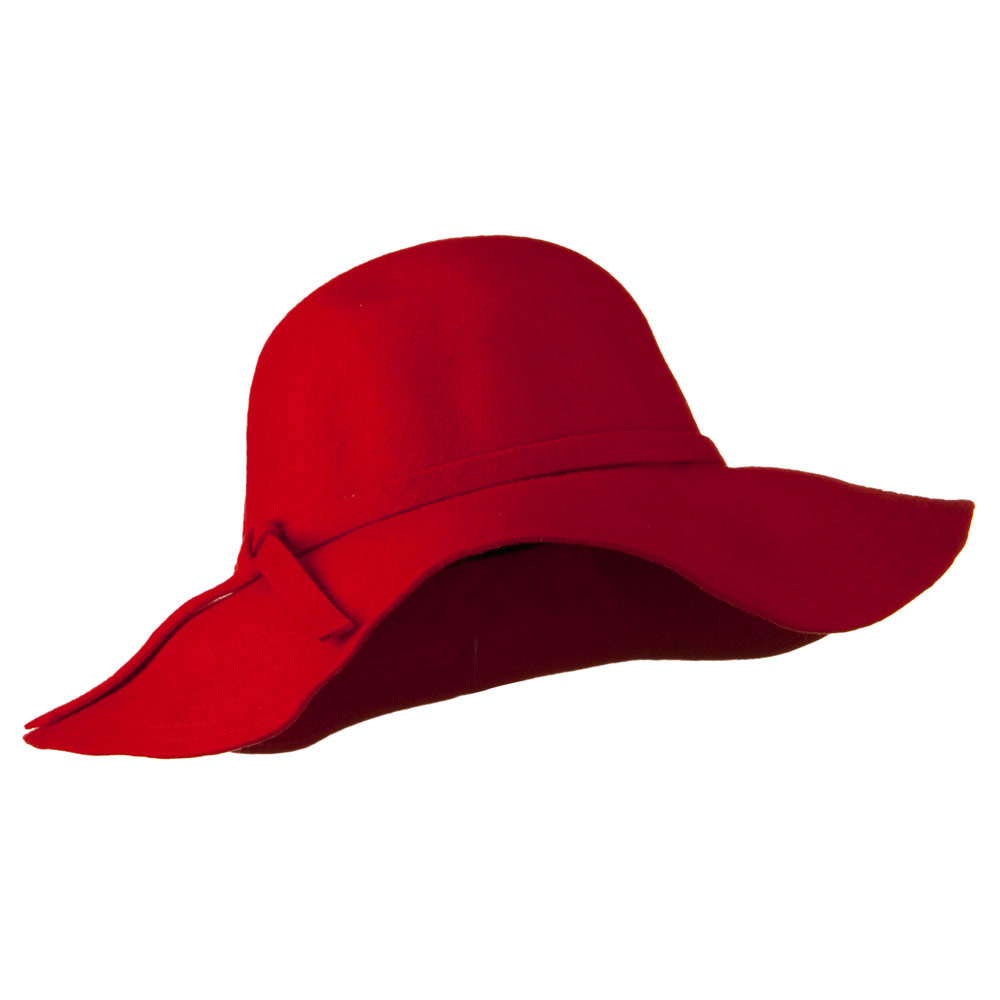 Wide Flat Brim Wool Felt Hat - Red - Hats and Caps Online Shop - Hip Head Gear