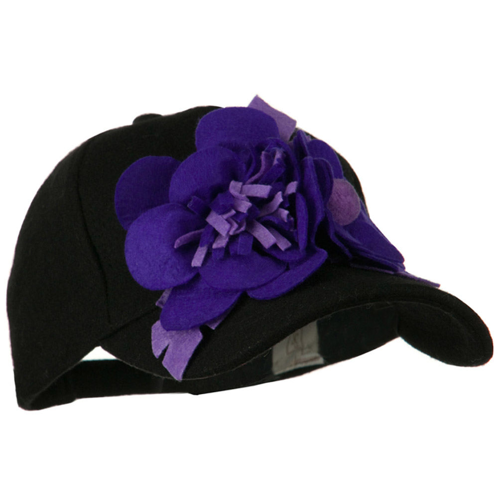Wool Cap with Flowers - Black Purple - Hats and Caps Online Shop - Hip Head Gear