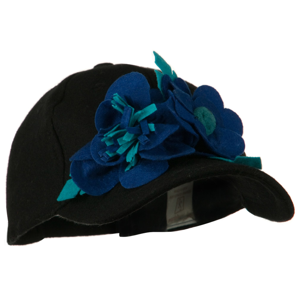 Wool Cap with Flowers - Black Blue - Hats and Caps Online Shop - Hip Head Gear