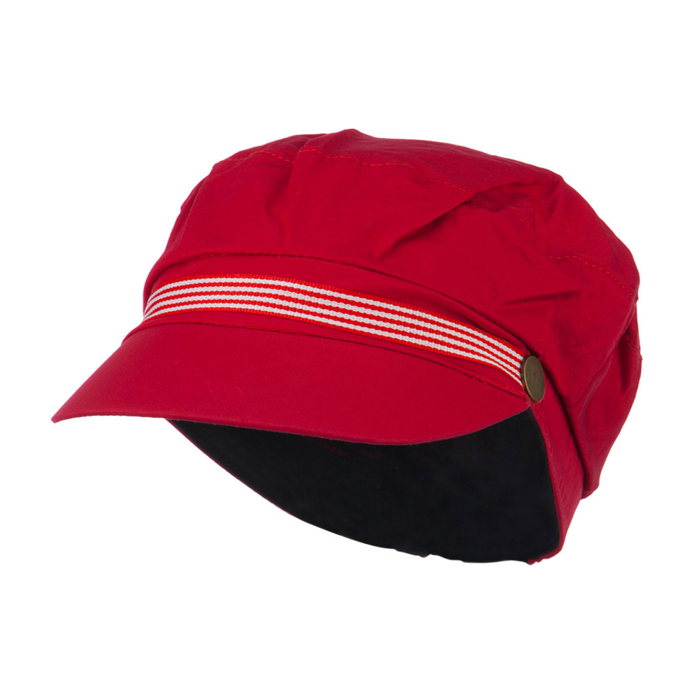 Women's Greek Sailor Shaped Cabbie Hat - Red - Hats and Caps Online Shop - Hip Head Gear