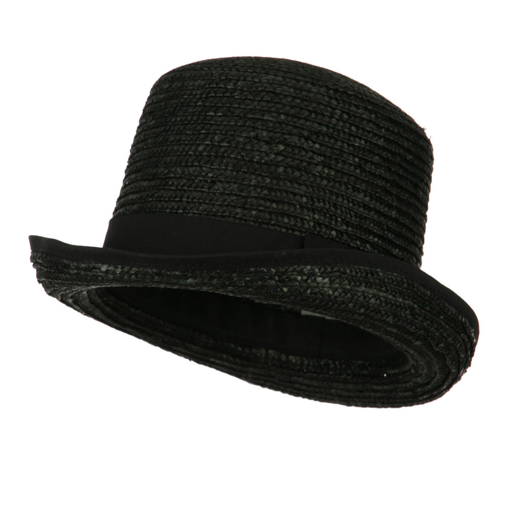 Wheat Braid Top Hat Fedora - Black - Hats and Caps Online Shop - Hip Head Gear