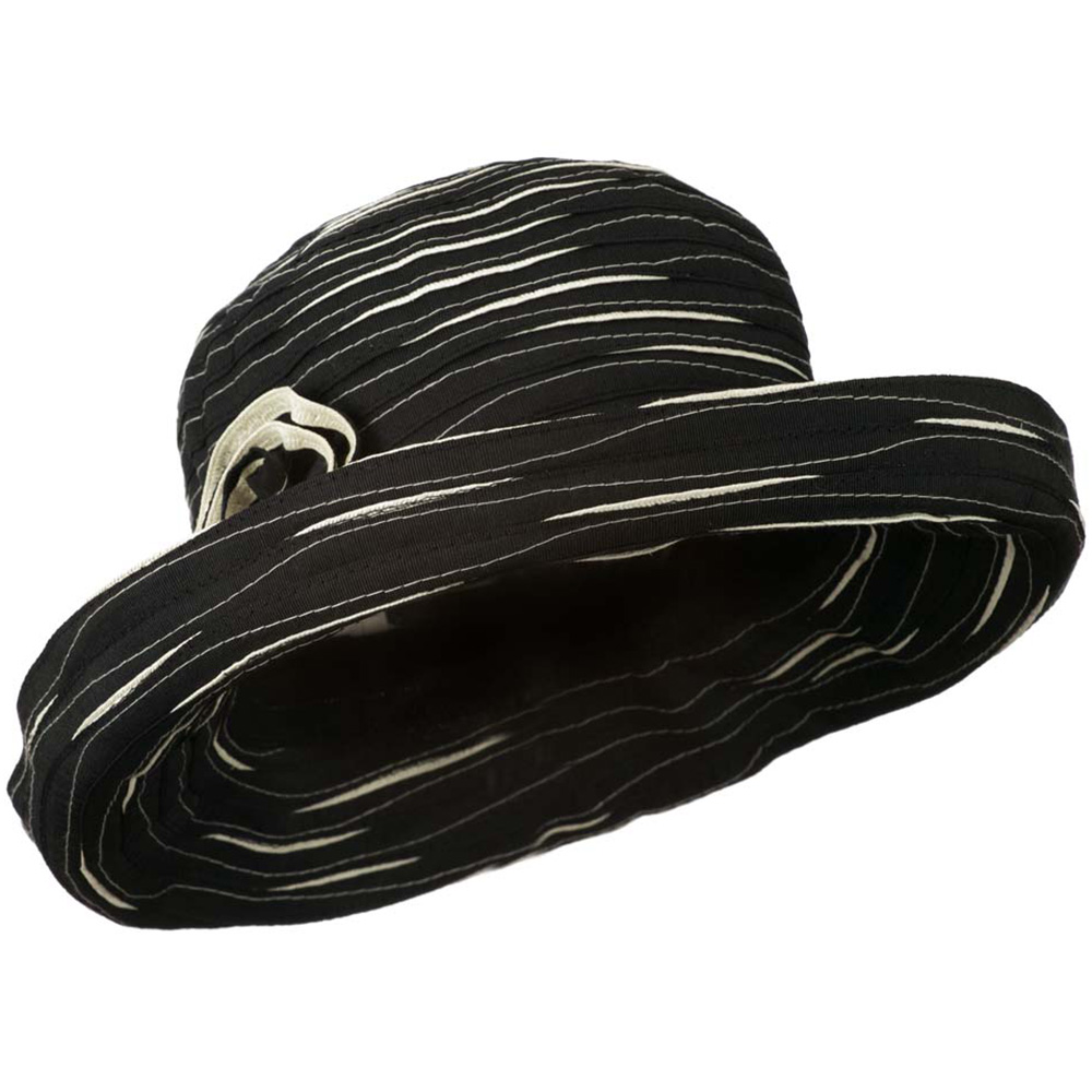 Women's Hat with Offset Spiral Sewn Ribbon - Black Cream - Hats and Caps Online Shop - Hip Head Gear