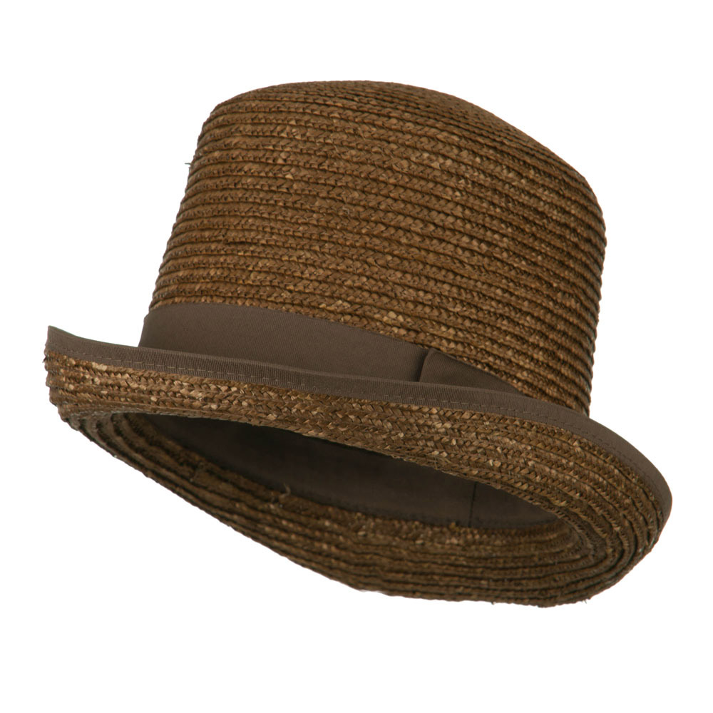 Wheat Braid Top Hat Fedora - Brown - Hats and Caps Online Shop - Hip Head Gear
