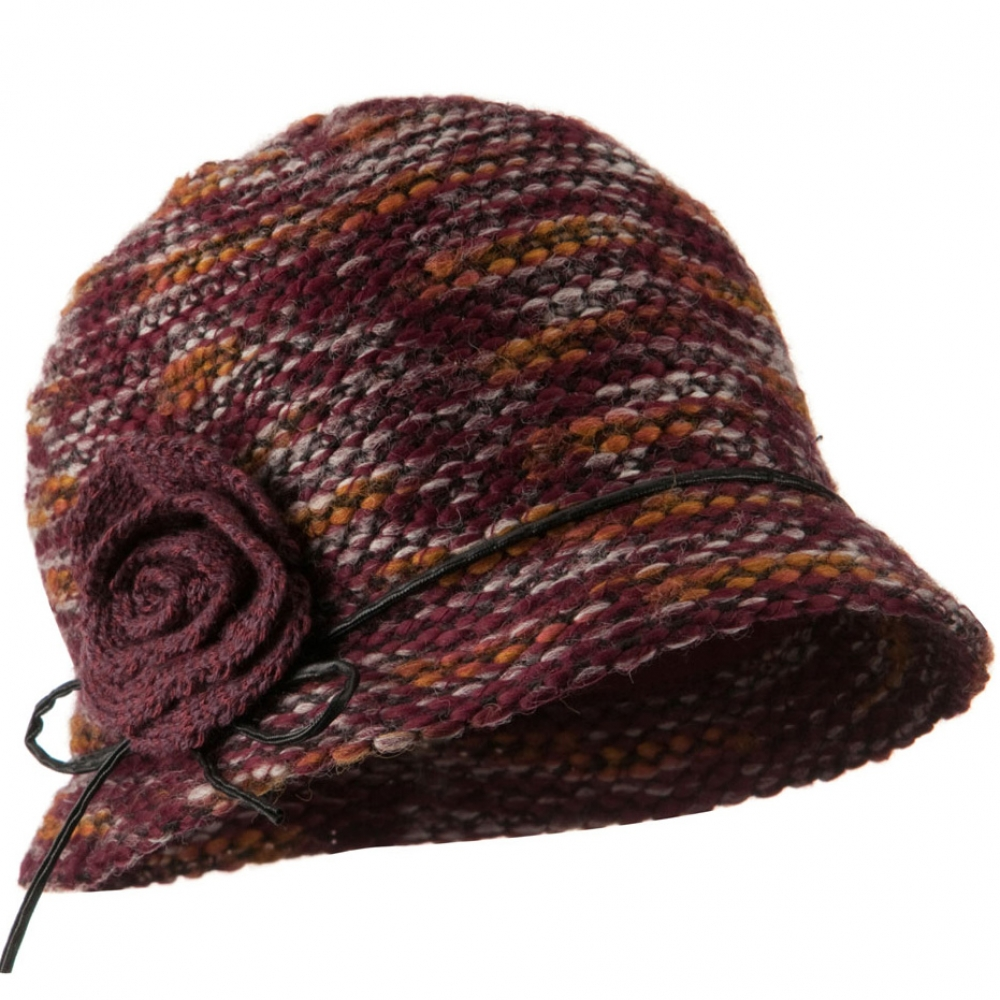Woman's Cloche Acrylic Blend with Knit flower Leatherette Band Hat - Burgundy - Hats and Caps Online Shop - Hip Head Gear