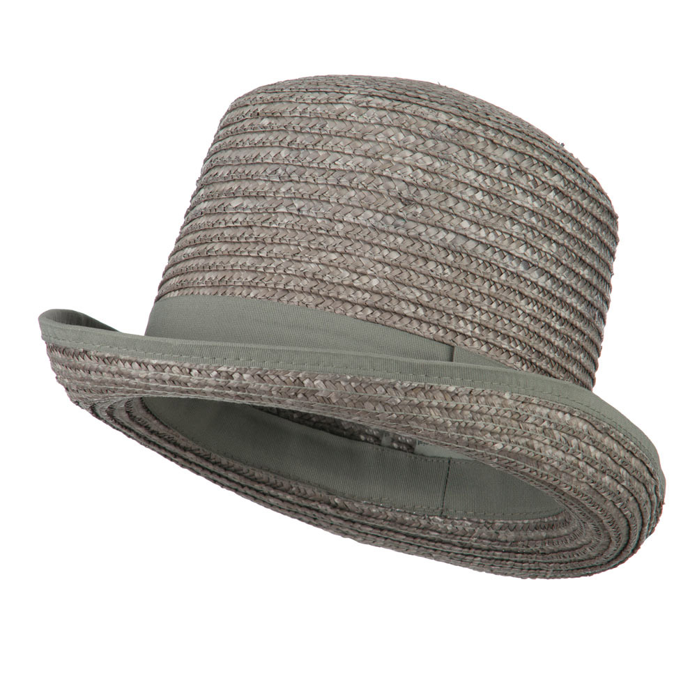 Wheat Braid Top Hat Fedora - Grey - Hats and Caps Online Shop - Hip Head Gear