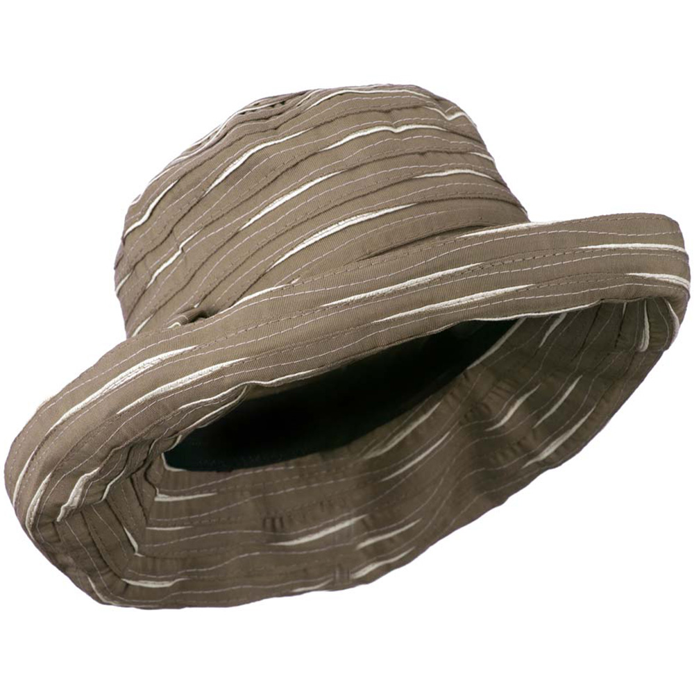 Women's Hat with Offset Spiral Sewn Ribbon - Taupe Cream - Hats and Caps Online Shop - Hip Head Gear