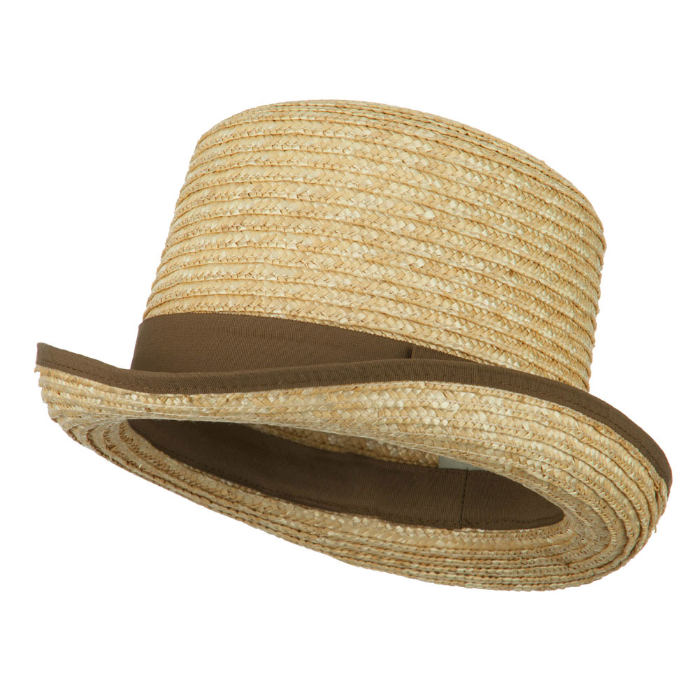 Wheat Braid Top Hat Fedora - Natural - Hats and Caps Online Shop - Hip Head Gear