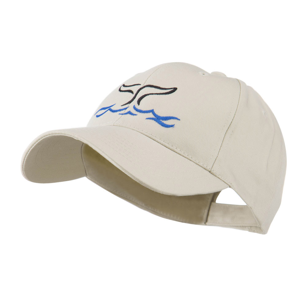 Whale Tail Outline Embroidered Cap - Stone - Hats and Caps Online Shop - Hip Head Gear
