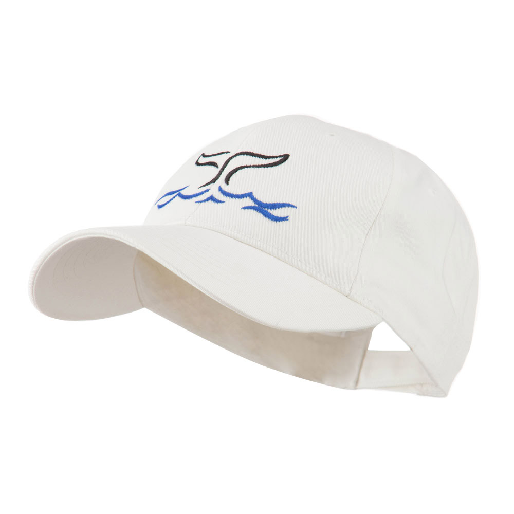 Whale Tail Outline Embroidered Cap - White - Hats and Caps Online Shop - Hip Head Gear