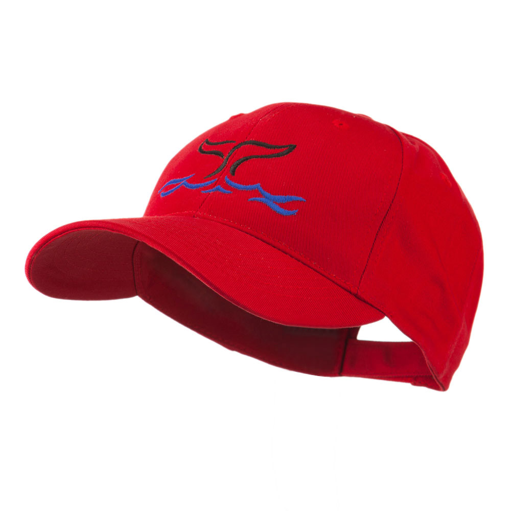 Whale Tail Outline Embroidered Cap - Red - Hats and Caps Online Shop - Hip Head Gear