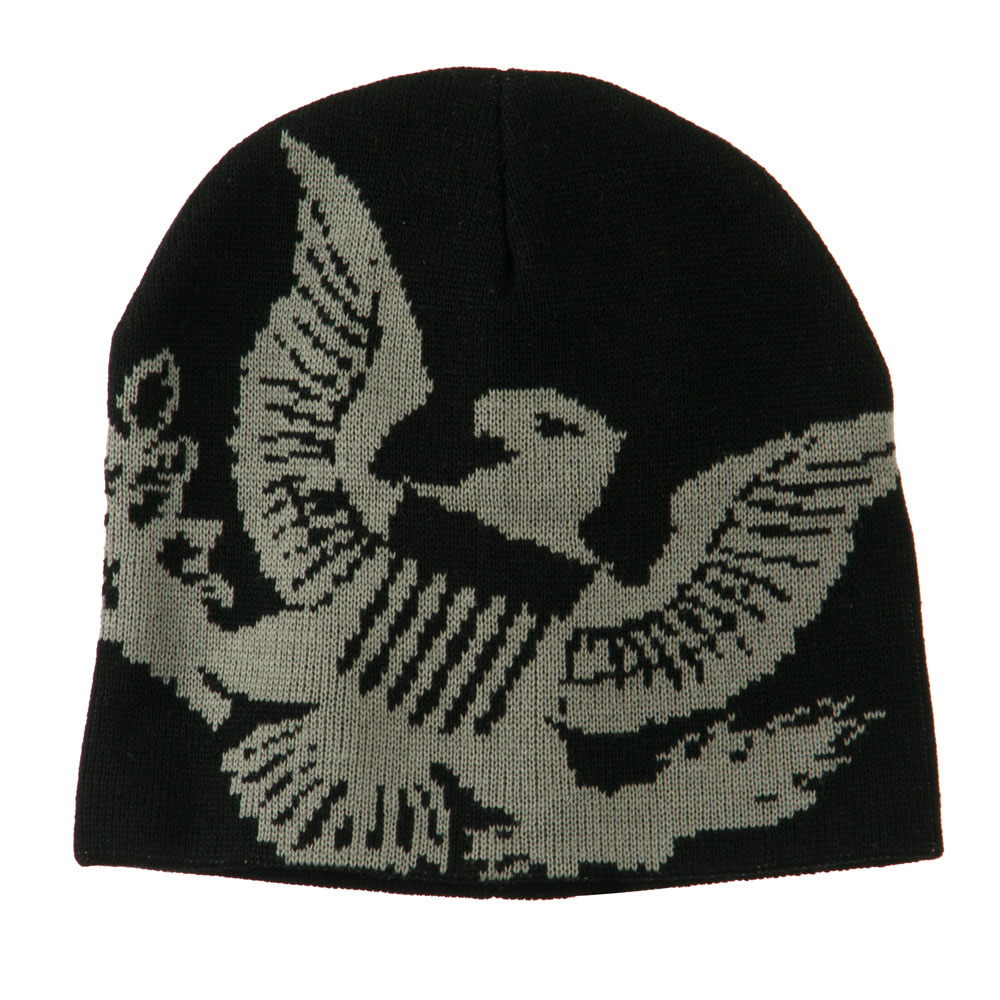 Woven Knit Eagle Army Military Beanie - Black - Hats and Caps Online Shop - Hip Head Gear