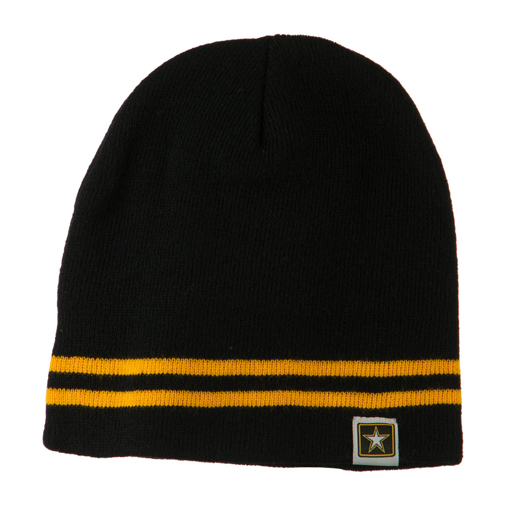 Woven Knit US Military Striped Beanie - Black Yellow - Hats and Caps Online Shop - Hip Head Gear