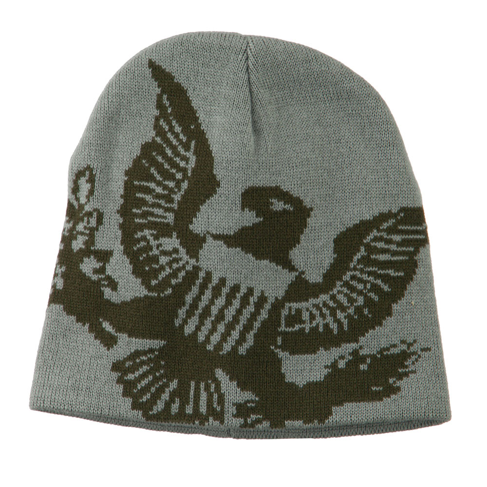 Woven Knit Eagle Army Military Beanie - Grey - Hats and Caps Online Shop - Hip Head Gear