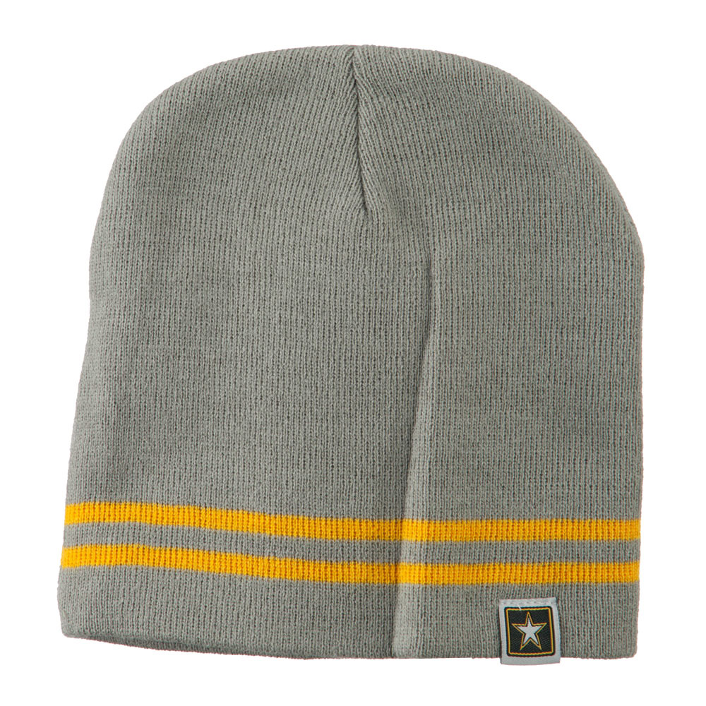 Woven Knit US Military Striped Beanie - Grey Yellow - Hats and Caps Online Shop - Hip Head Gear