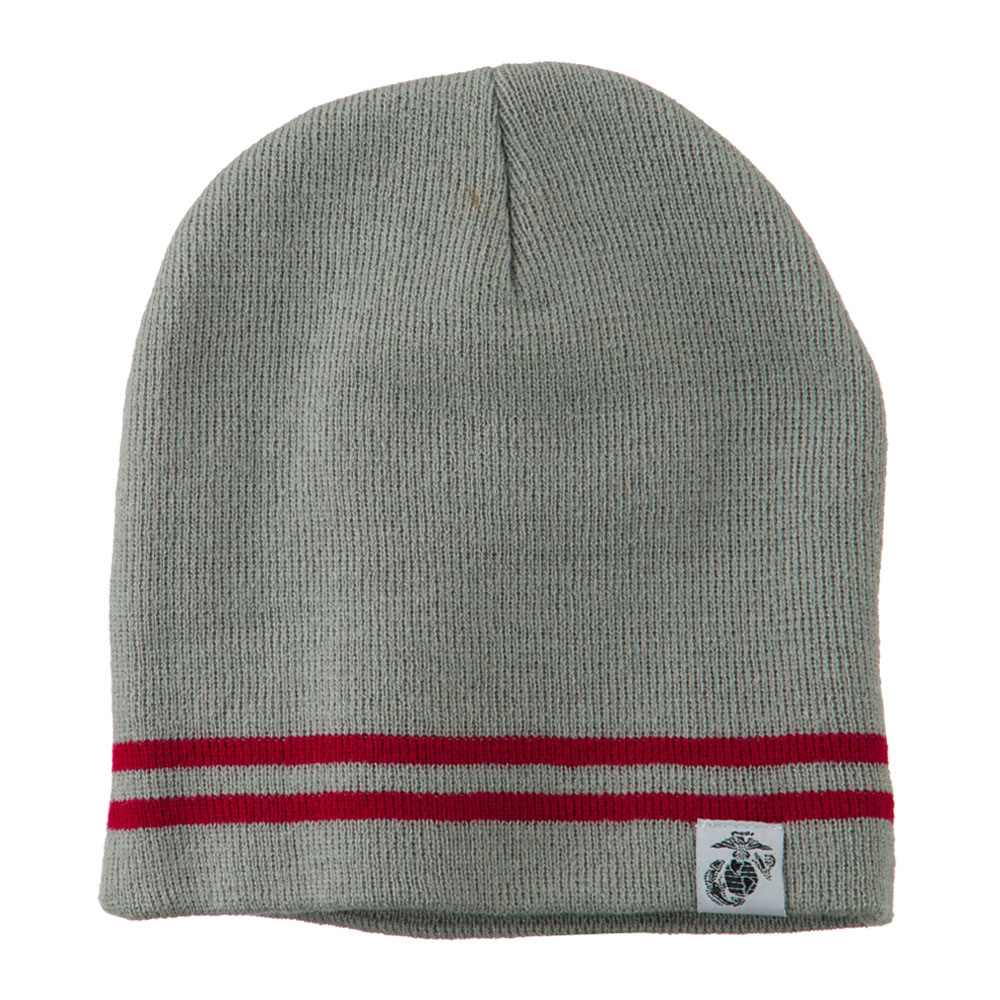 Woven Knit US Military Striped Beanie - Grey Red - Hats and Caps Online Shop - Hip Head Gear