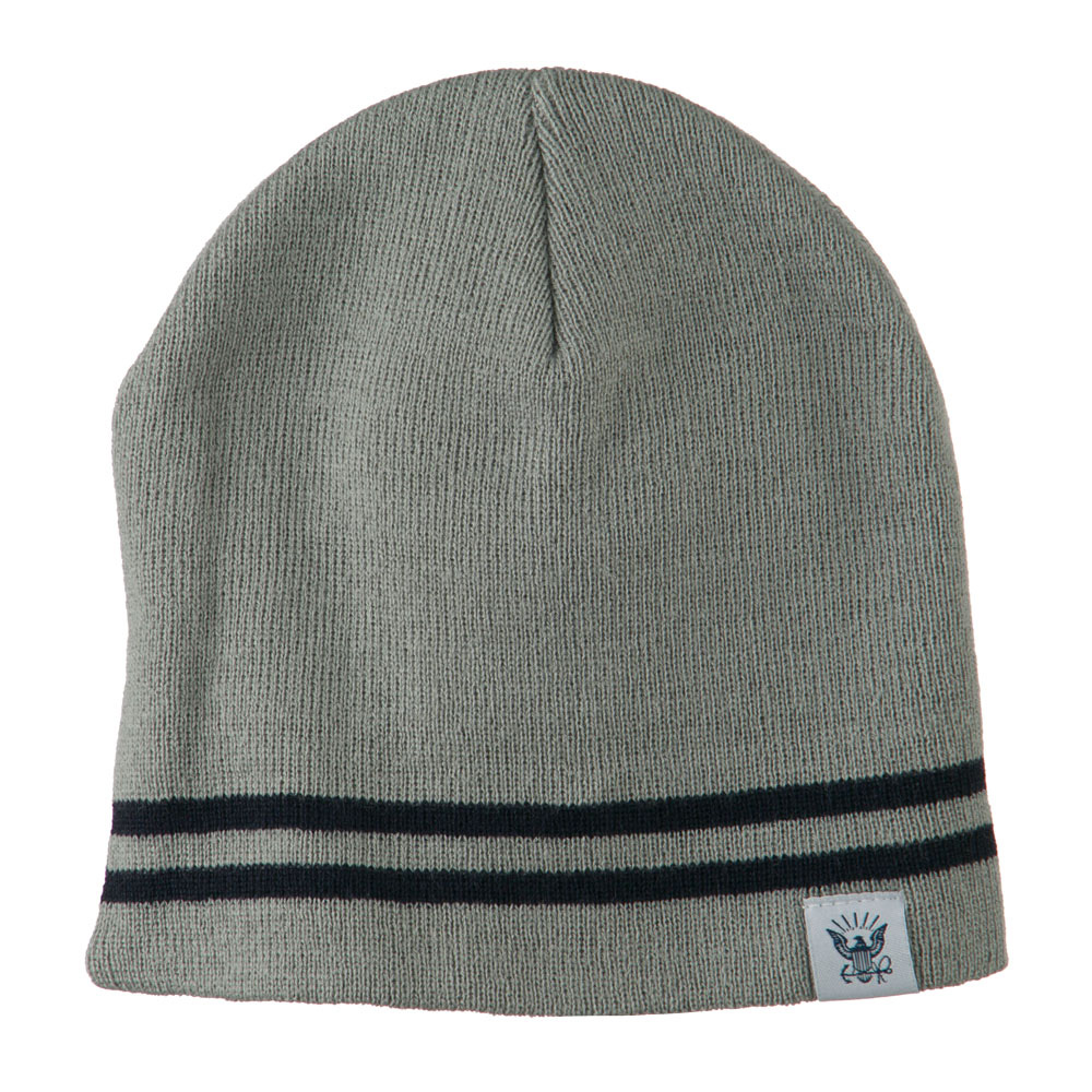 Woven Knit US Military Striped Beanie - Grey Navy - Hats and Caps Online Shop - Hip Head Gear