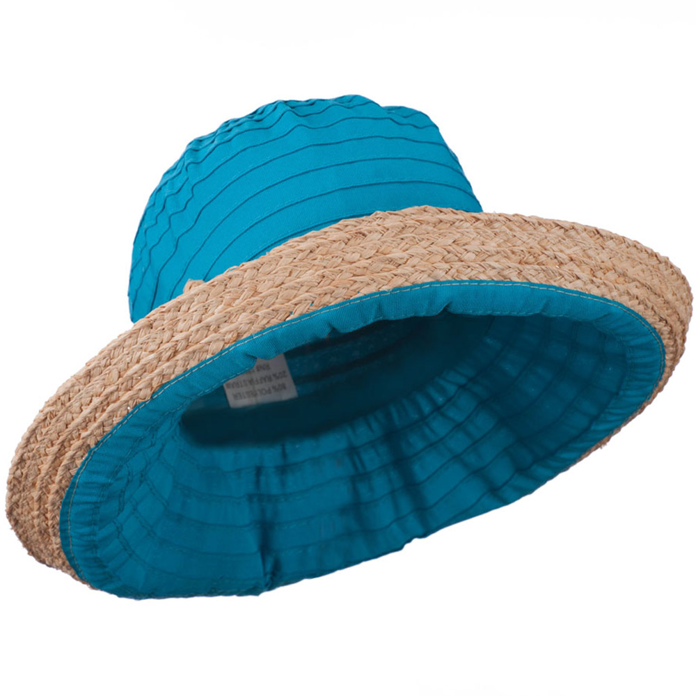 Women's Raffia Hat with Kettle Brim - Turquoise - Hats and Caps Online Shop - Hip Head Gear