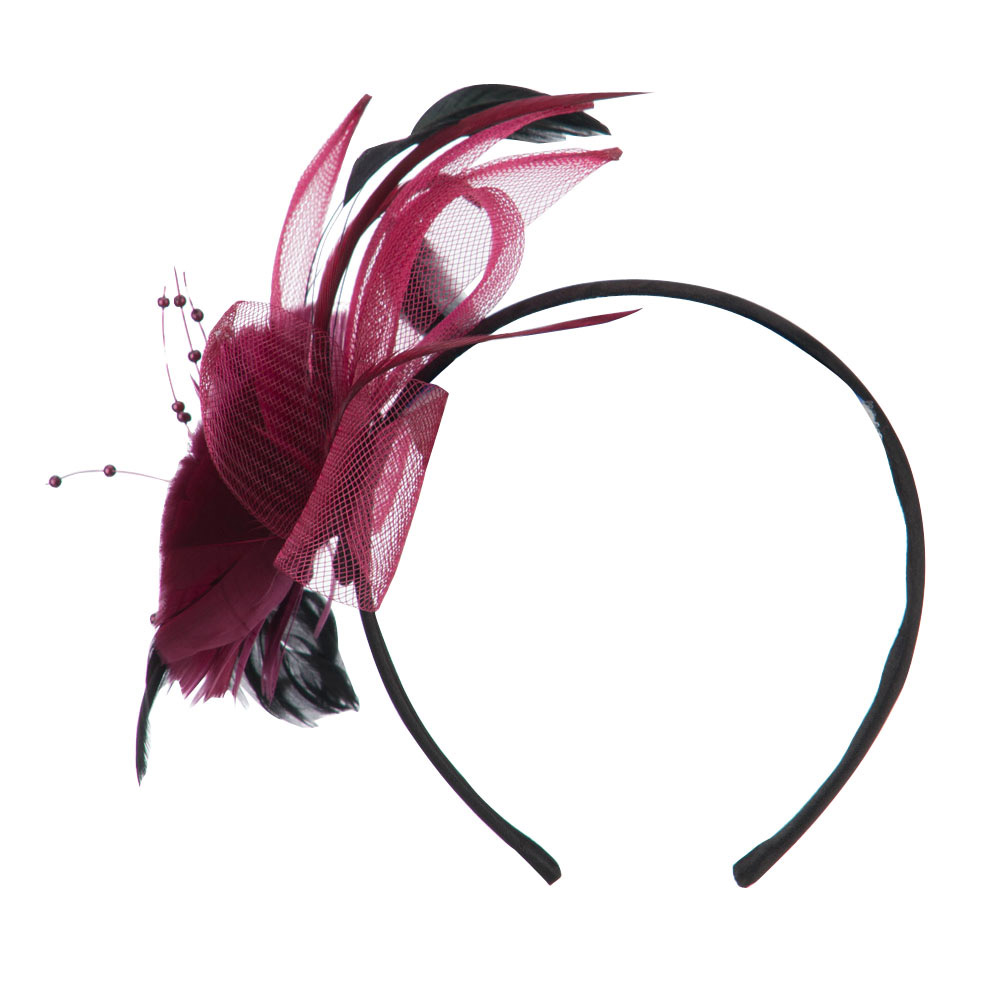 Women's Large Flower Headband Fascinator - Burgundy - Hats and Caps Online Shop - Hip Head Gear