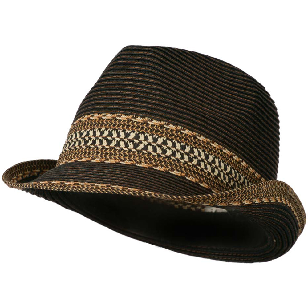 Women's Multi-Color Tribal Weave Fedora Hat - Black - Hats and Caps Online Shop - Hip Head Gear