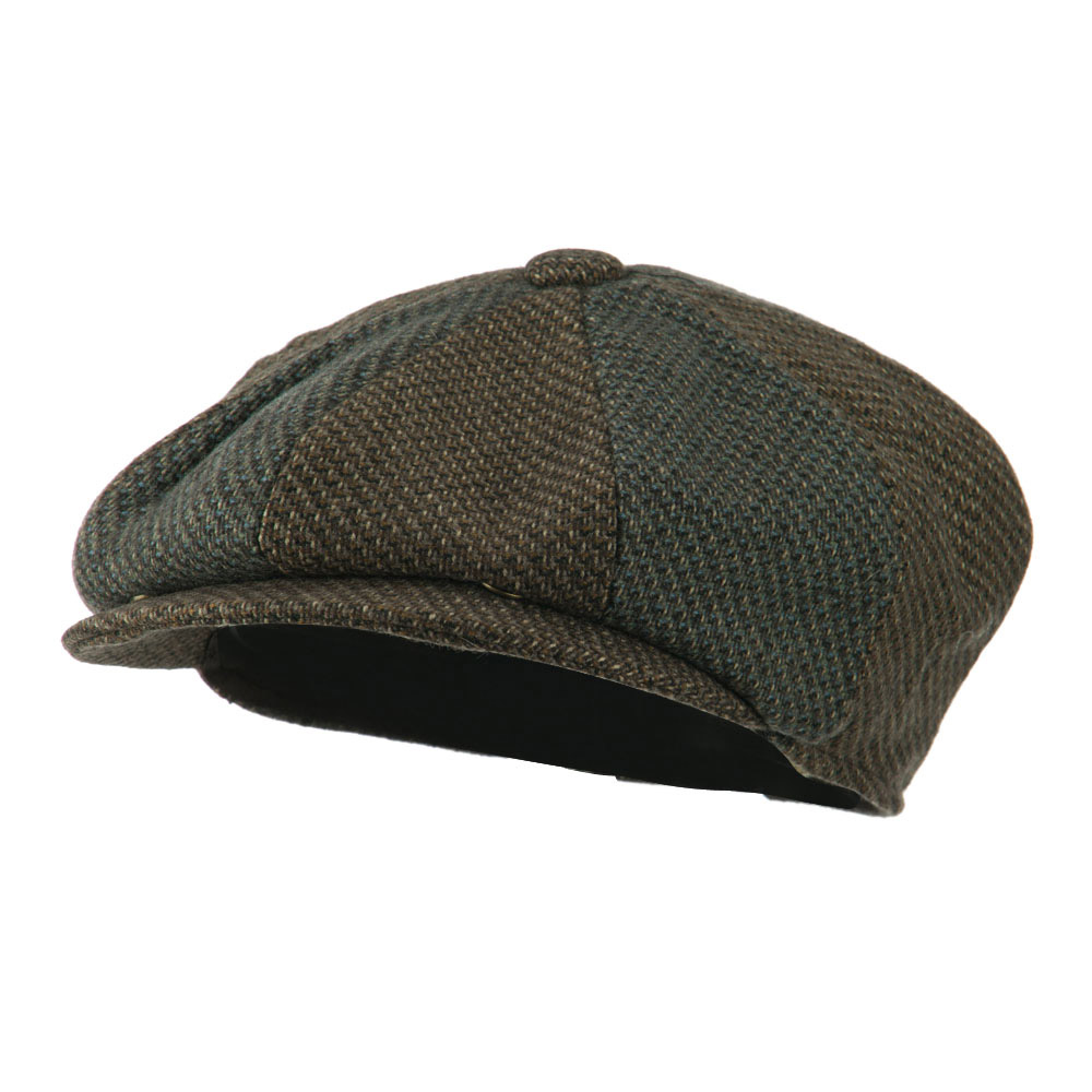 Men's Wool Blend 8 Panel Cap - Brown
