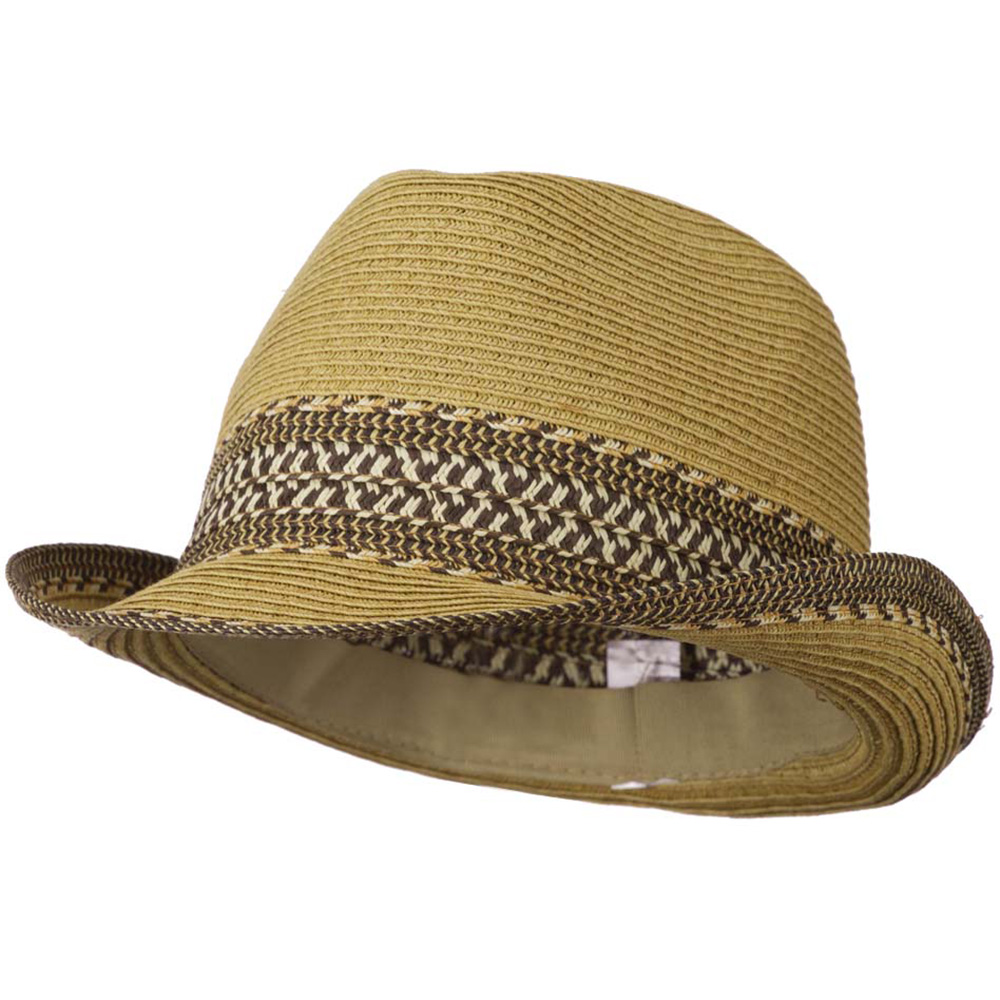 Women's Multi-Color Tribal Weave Fedora Hat - Tan - Hats and Caps Online Shop - Hip Head Gear