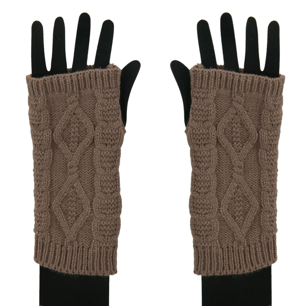 Women's Cable Fingerless Arm Warmer - Taupe