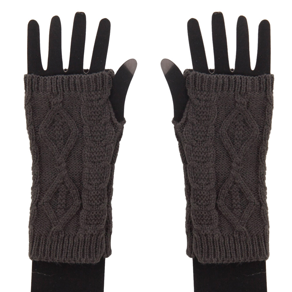 Women's Cable Fingerless Arm Warmer - Grey