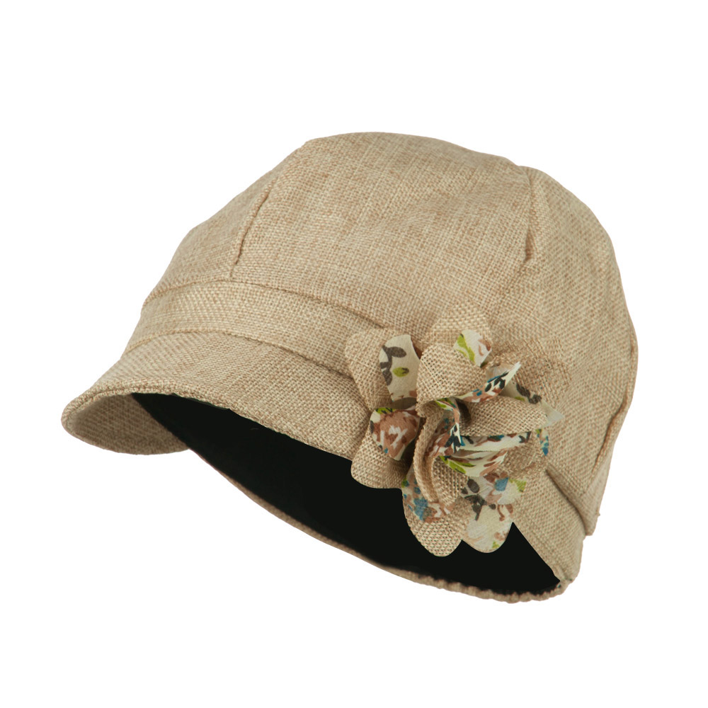 Women's 6 Panel Polyester Cabbie Cap - Beige - Hats and Caps Online Shop - Hip Head Gear