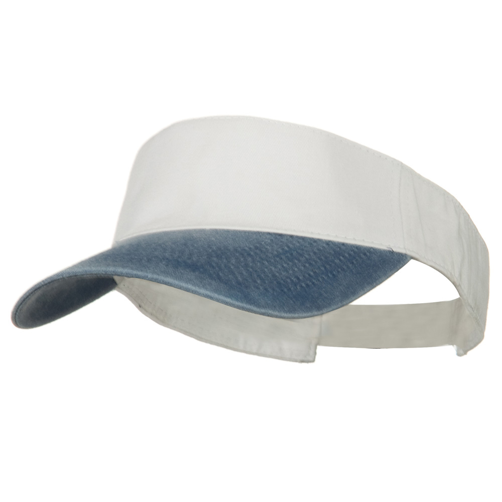 Washed Pigment Dyed Cotton Twill Sun Visor - Navy White - Hats and Caps Online Shop - Hip Head Gear