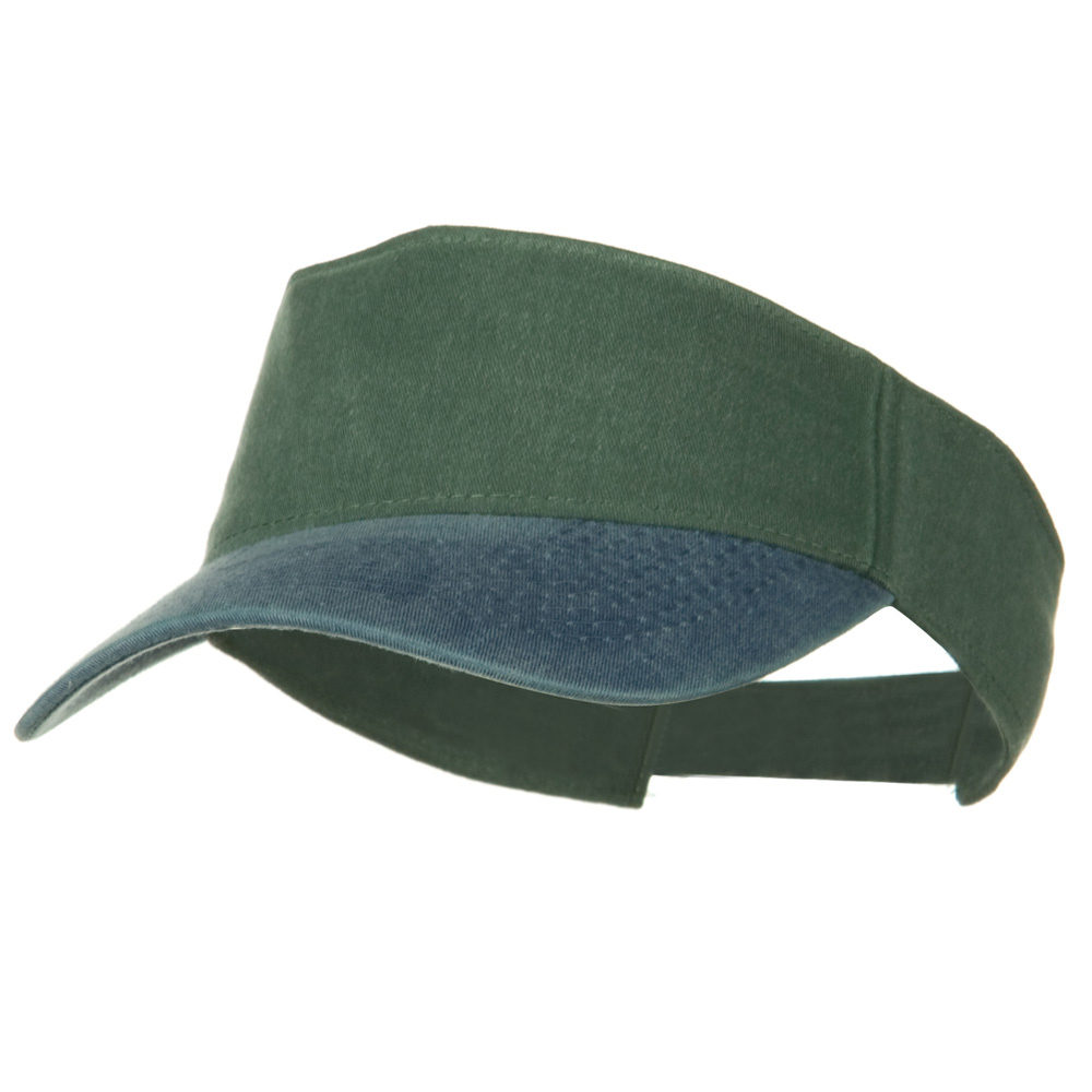 Washed Pigment Dyed Cotton Twill Sun Visor - Navy Dark Green - Hats and Caps Online Shop - Hip Head Gear