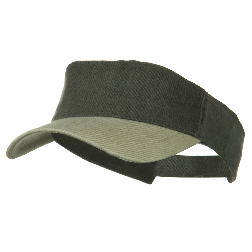 Washed Pigment Dyed Cotton Twill Sun Visor - Khaki Black - Hats and Caps Online Shop - Hip Head Gear