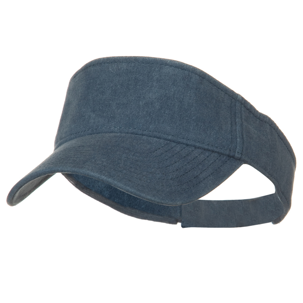 Washed Pigment Dyed Cotton Twill Sun Visor - Navy - Hats and Caps Online Shop - Hip Head Gear