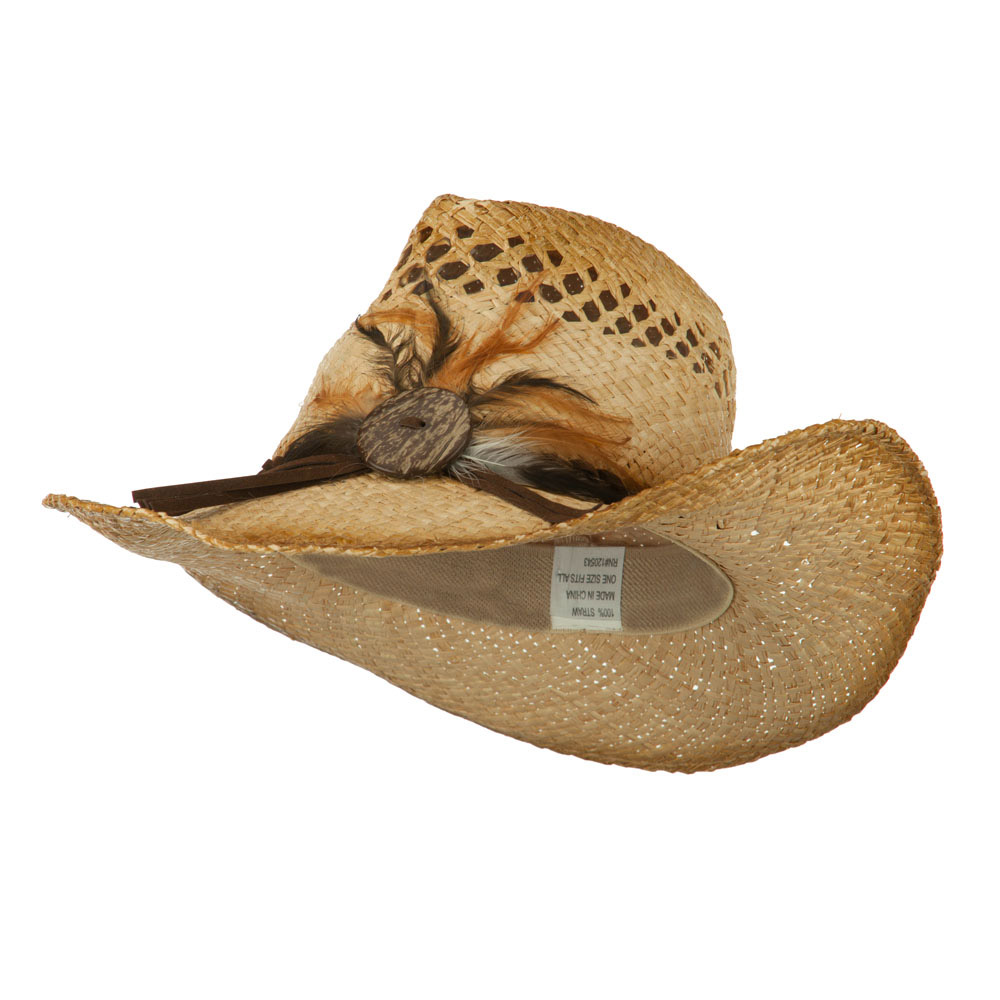 Women's Raffia Cowboy Hat with Coconut Shell Button Detail - Natural - Hats and Caps Online Shop - Hip Head Gear