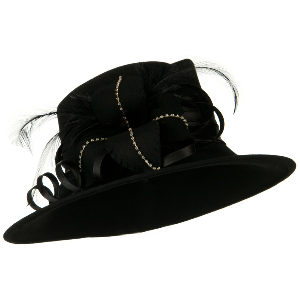 Wool Felt Dress Hat with Leaf Ribbon - Black