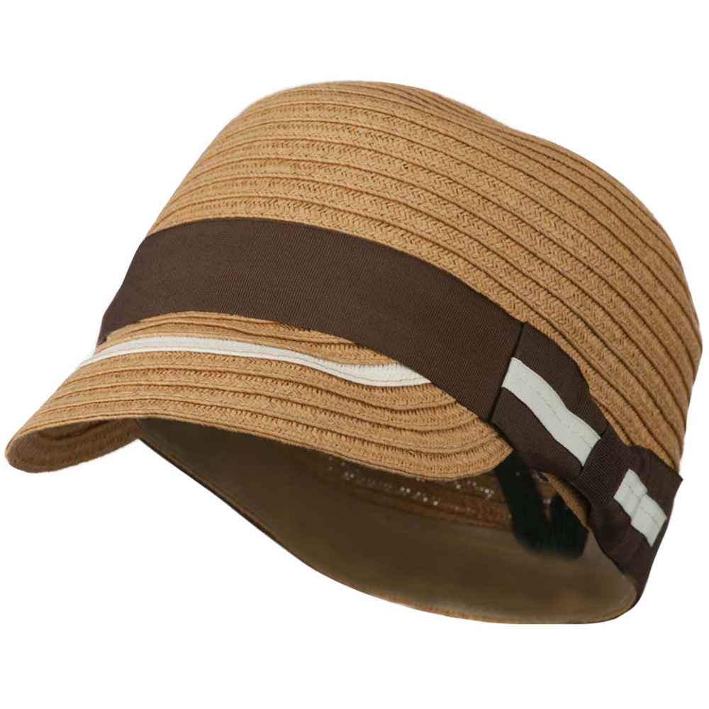 Women's Paper Hat with Ribbon - Light Brown - Hats and Caps Online Shop - Hip Head Gear