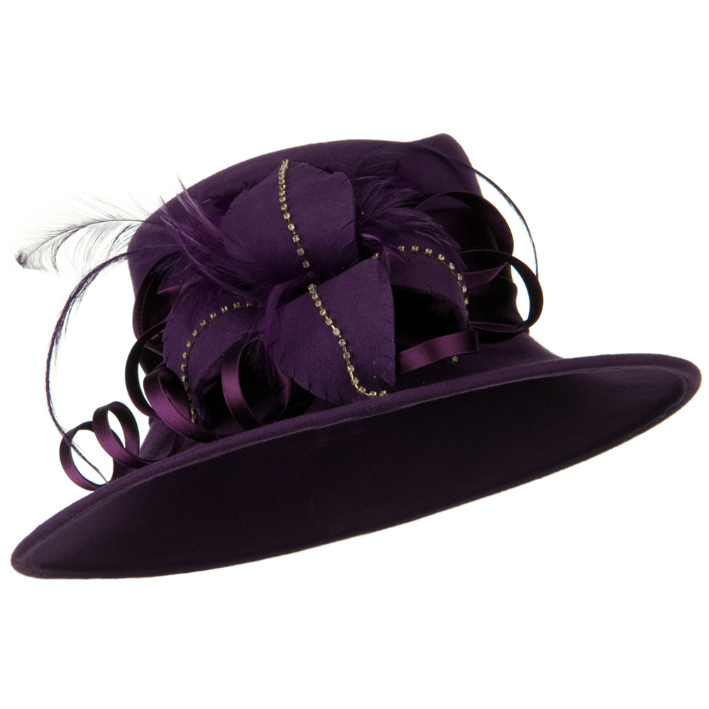 Wool Felt Dress Hat with Leaf Ribbon - Purple - Hats and Caps Online Shop - Hip Head Gear