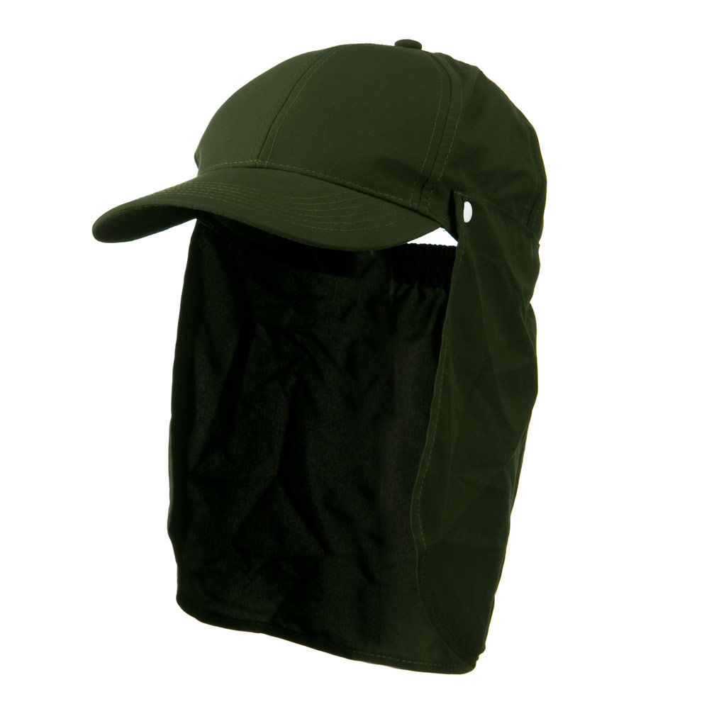 Water Repellent Microfiber Sun Block Flap Cap - Olive - Hats and Caps Online Shop - Hip Head Gear