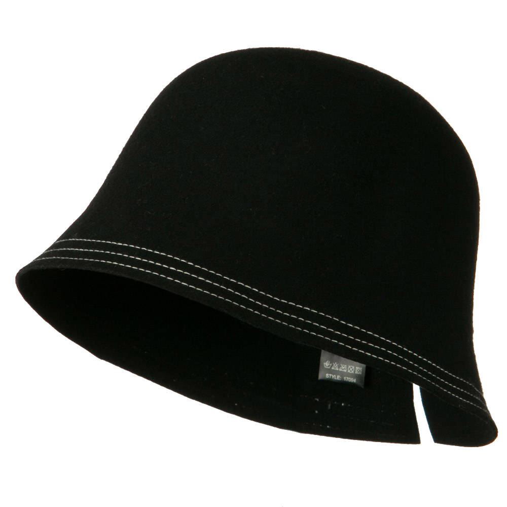 Wool Felt Stitched Hat with Buckle - Black - Hats and Caps Online Shop - Hip Head Gear