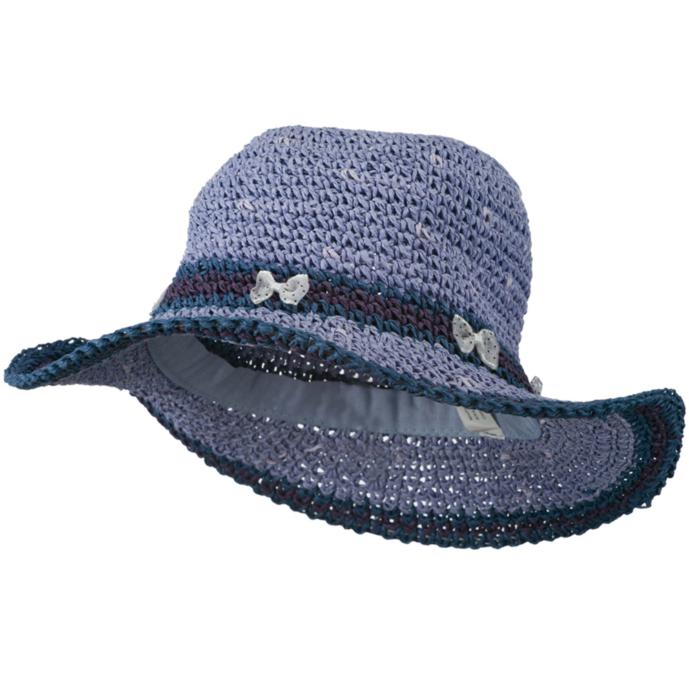 Girl's Toyo Hat with Stripe and Dot Detail - Lavender - Hats and Caps Online Shop - Hip Head Gear